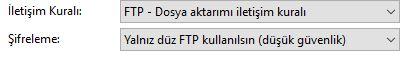 FileZilla FTP programı düz ftp kullanımı