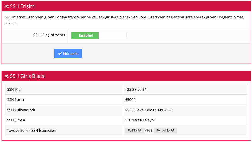 Paylaşımlı hosting için SSH bağlantı bilgileri