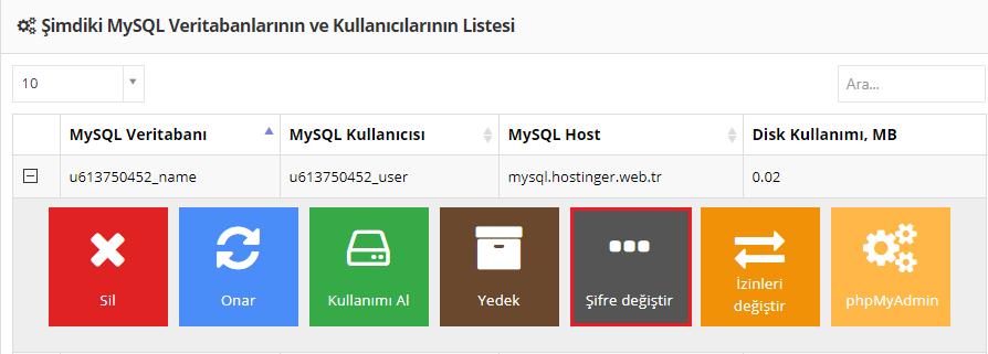 MySQL veritabanı şifresini değiştirme