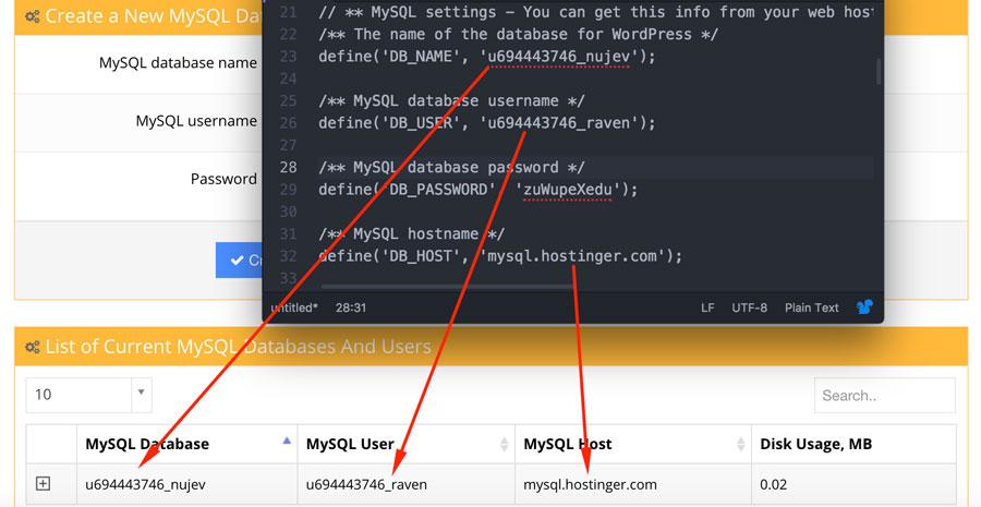 MySQL bilgilerinin wp-config.php içindekileriyle kontrol edin