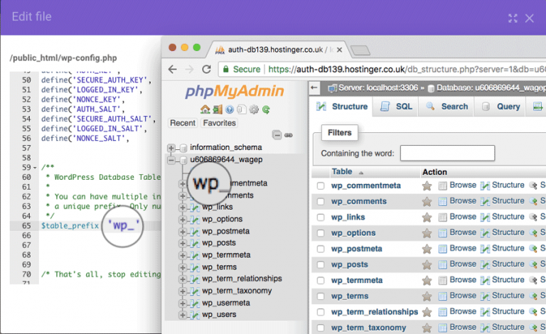 Veritabanı bağlantısı kurulurken hata oluştu sorununun çözümü için WordPress veritabanı prefix kontrolü