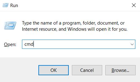 Windows'da komut satırını açmak için kullanılan Çalıştır uygulaması