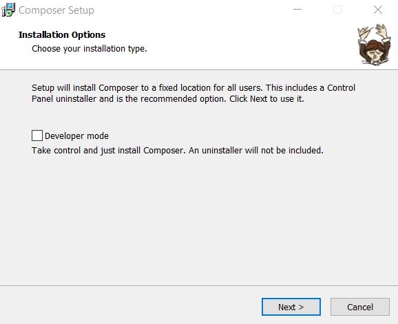 Windows'da Composer kurulum sihirbazı