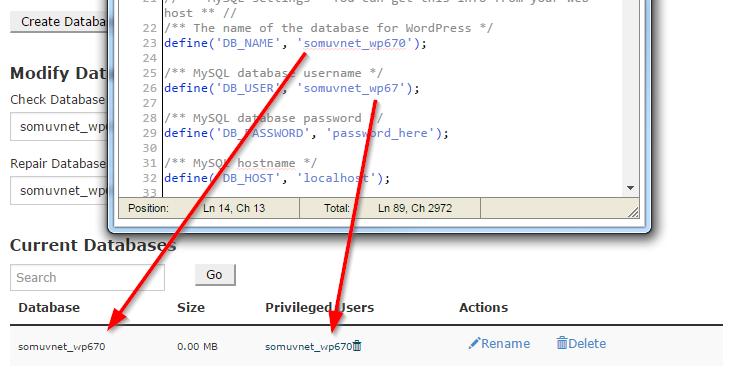 wp-config.php dosyasındaki değerleri Databases ekranındaki değerlerle eşleştirin