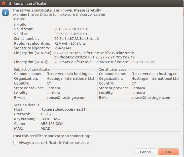 Filezilla FTP programı TLS bağlantı onayı
