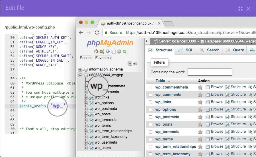 WordPress veritabanı bağlantısı oluşturulurken hata oluştu hatasını düzeltmek için phpmyadmin kullanarak table prefix kontrolü yapın