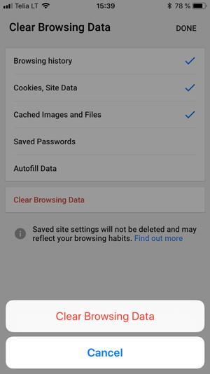 mobil google chrome ios tarayıcı temizleme