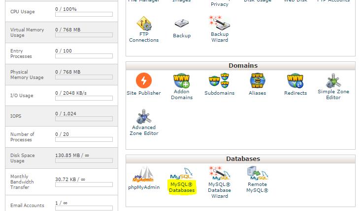 cPanel MySQL veritabanları bölümünde bulunur