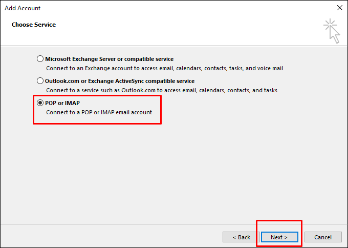 Outlook mail pop imap seçimi