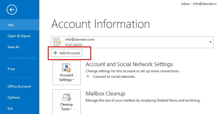 Outlook mail yeni hesap ekleme