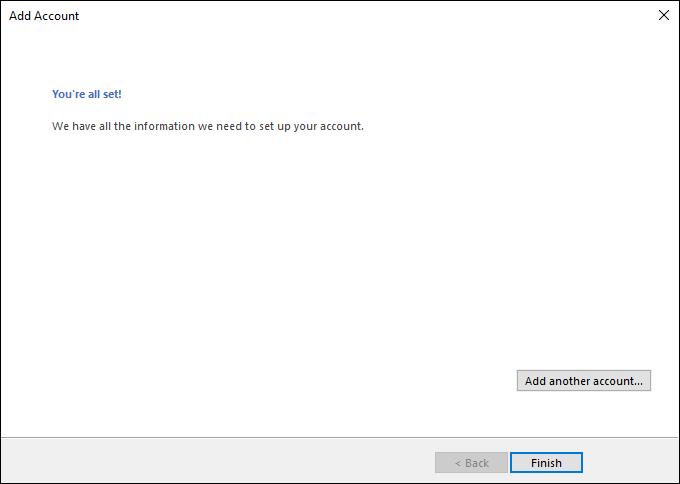 Outlook mail kurulum tamamlama ekranı