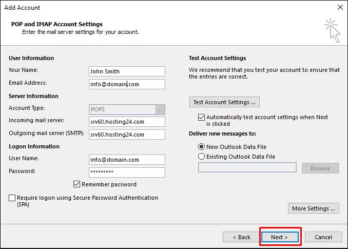 Outlook mail hesap detayları