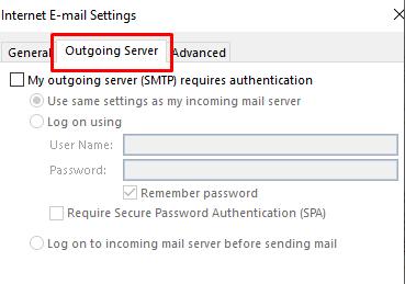 Outlook mail giden sunucu