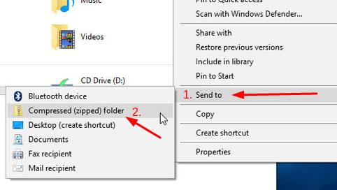 Windows Zip Dosyası Oluşturma