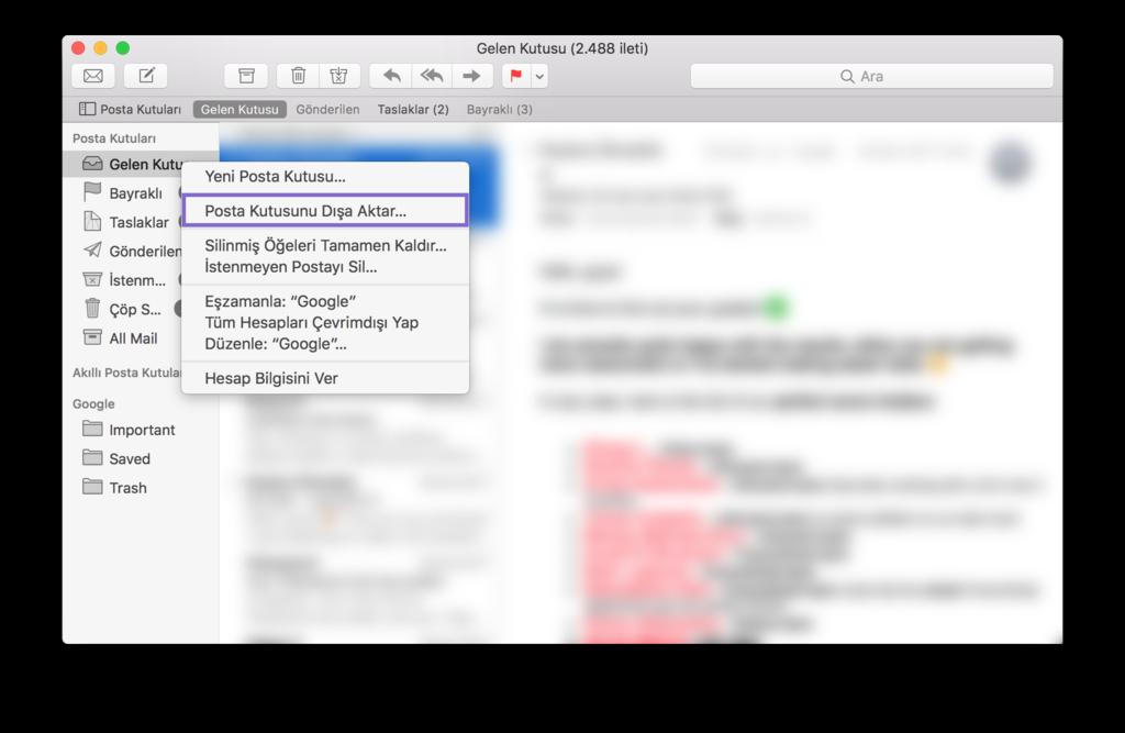 Mac Mail Yedekleme