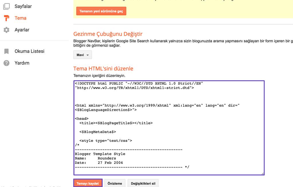 Blogger Tema Kodu Düzenleme