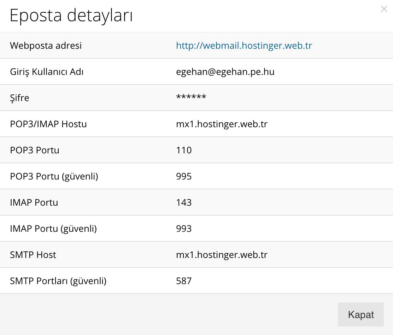 hostinger kontrol paneli mail hesabı detayları