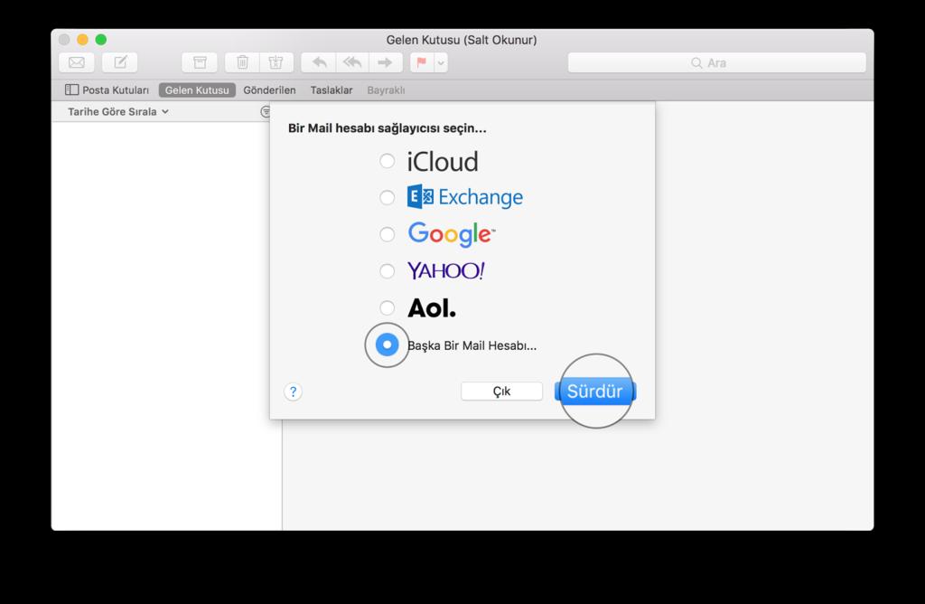 Mac Mail Kurulumu