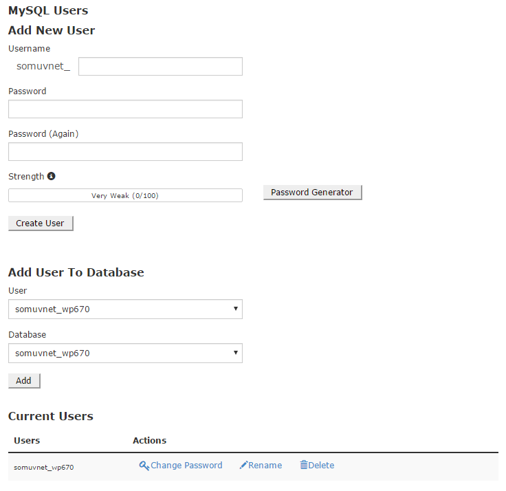 Sayfanın en alt kısmından veritabanına yeni kullanıcılar ve ayrıcalıklar eklenebilir