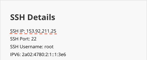 VPS özel IP adresi bölümü