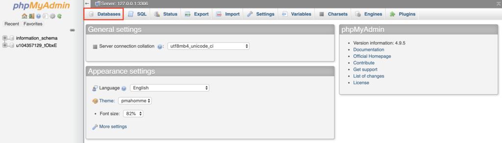phpMyAdmin'de yeni veritabanı oluşturma