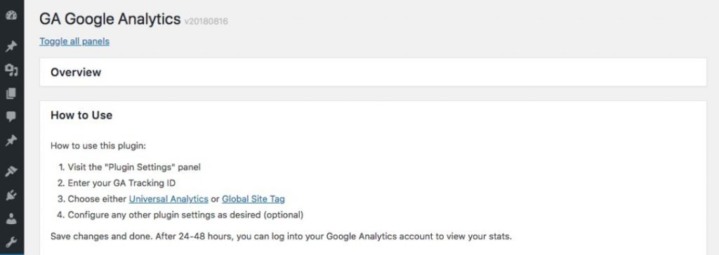 GA Google Analytics arayüzü