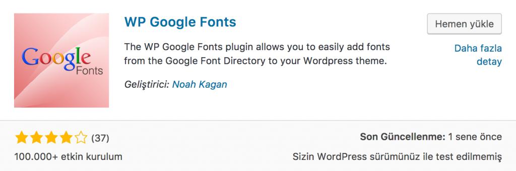WP Google Font Eklentisi