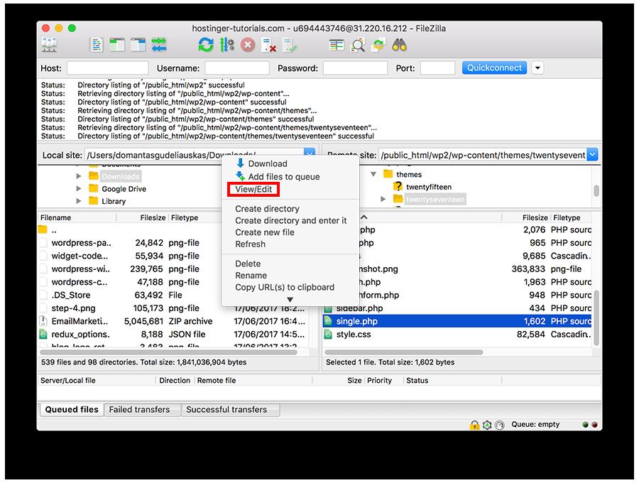 Hatalı Dosyayı FileZilla ile Düzeneleme