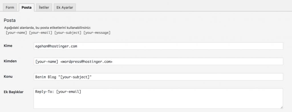 WordPress İletişim Formu Email Ayarı