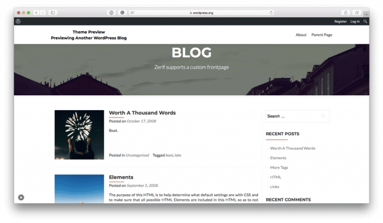WordPress Zerif Lite Teması