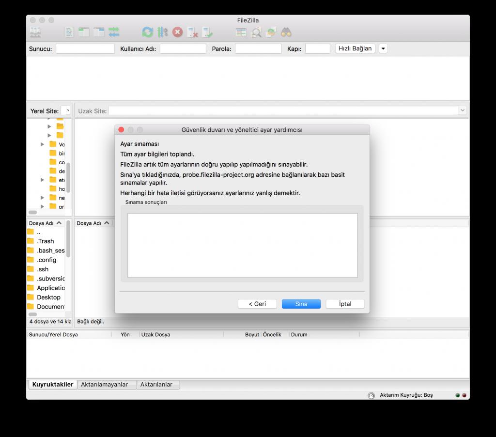 FileZilla Ayar Sınaması