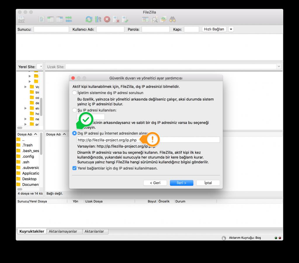 FileZilla: Dış IP Adresi
