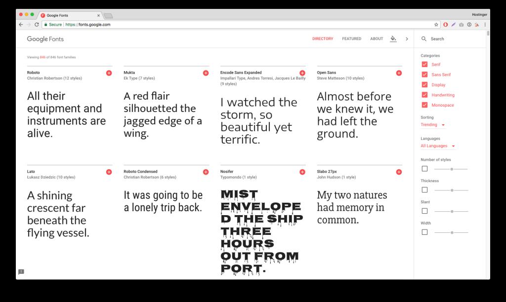 Google Fonts - Yazı Karakteri Kataloğu