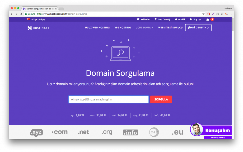kurumsal web sitesi domain sorgulama