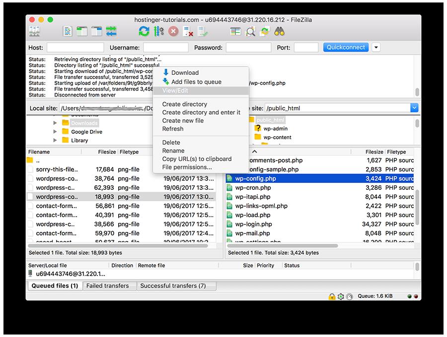 wp-config.php dosyasını düzenleme
