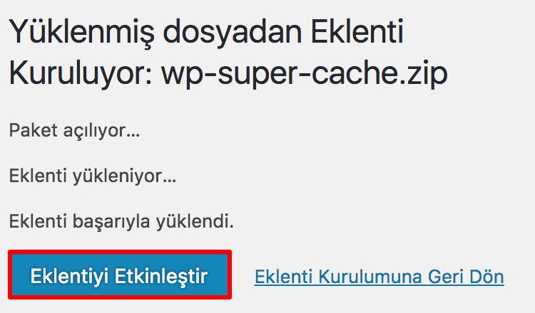 WordPress Eklentiyi Etkinleştir
