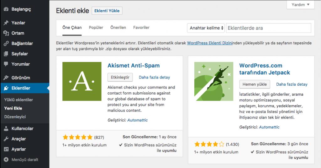 WordPress Eklenti Yükleme