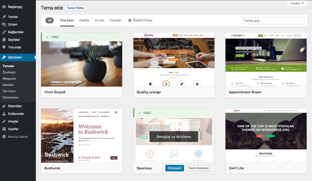 WordPress Tema Ekleme