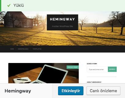 WordPress Tema Etkinleştirme
