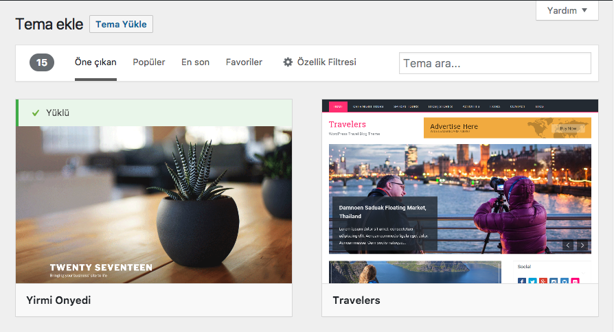 WordPress Yeni Tema