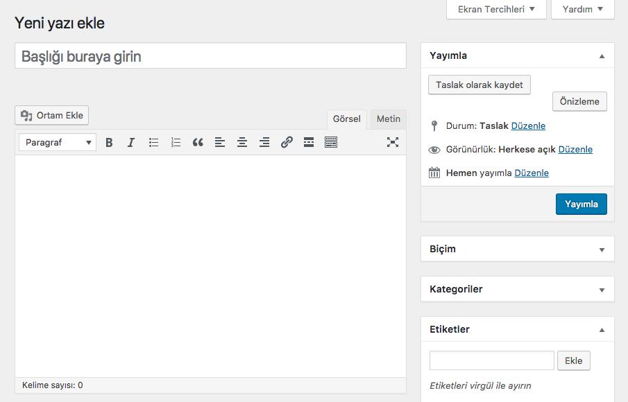 WordPress Yeni Yazı