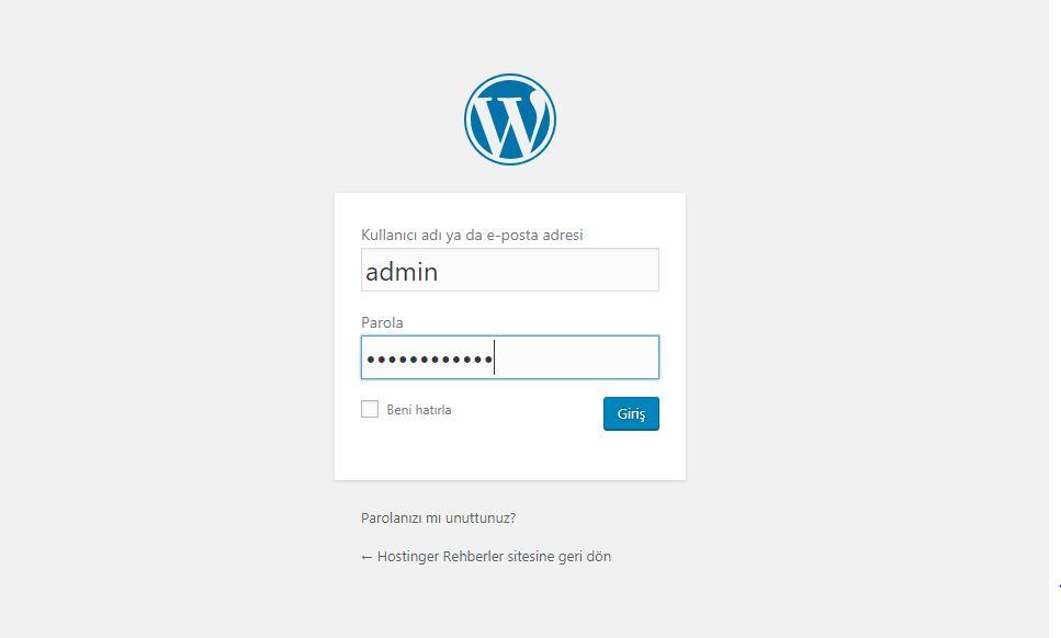 WordPress admin girişi sayfası