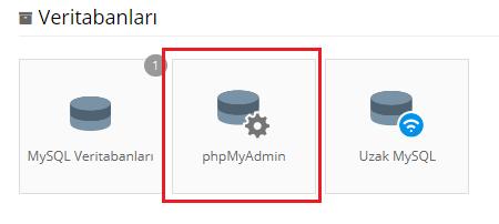 Hostinger Kontrol Paneli phpMyAdmin