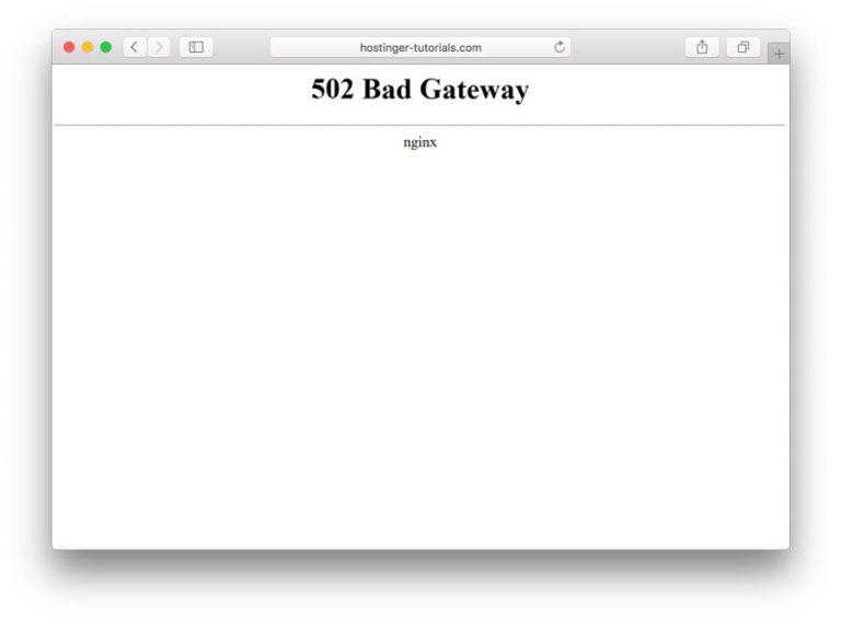 502 bad gateway hatası tarayıcı görünümü