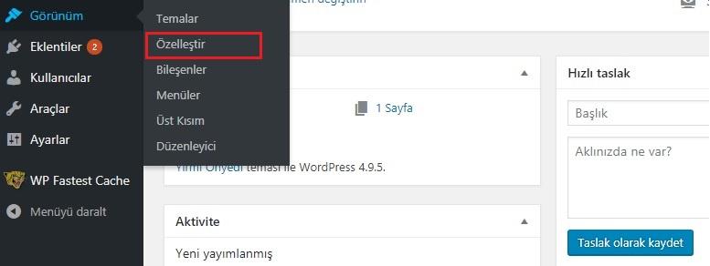 WordPress görünüm özelleştirmesi