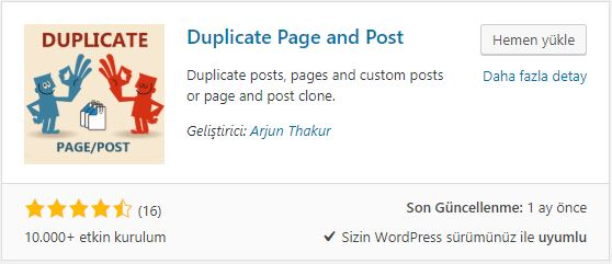 Duplicate page and post eklentisi