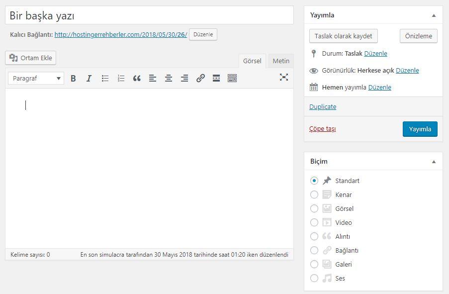WordPress Kopya Sayfa Düzenlemesi