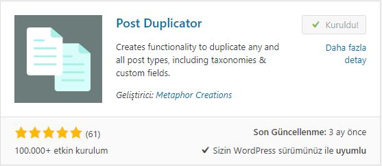 WordPress Post Duplicator Eklentisi
