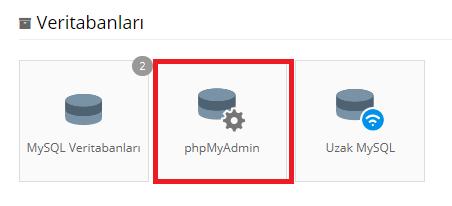 phpmyadmin konumu