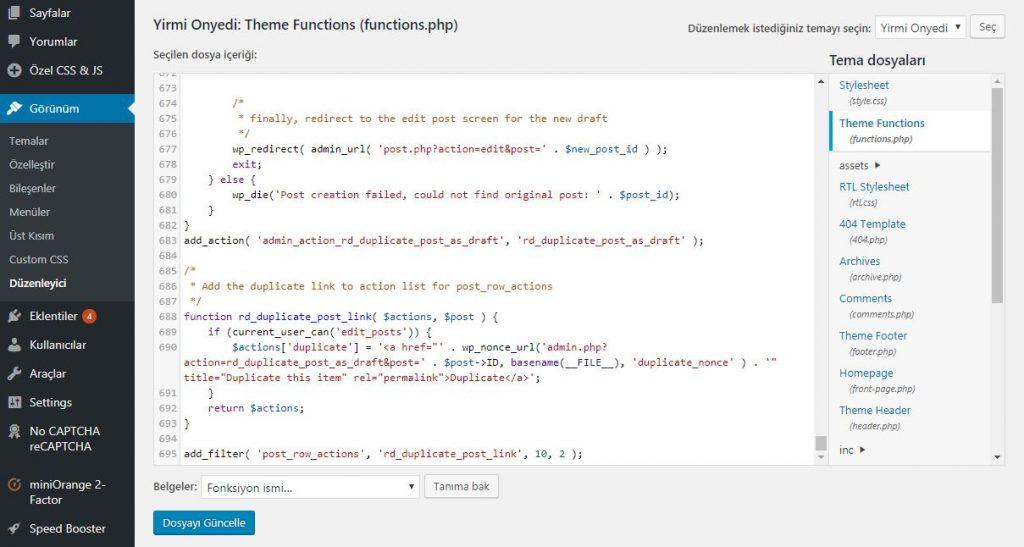 WordPress Sayfa Kopyalama Fonksiyonu Ekleme